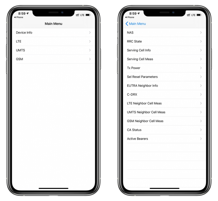 iPhone main menu