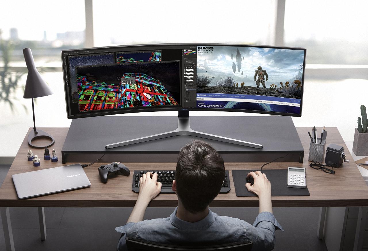 ultrawide monitor at work