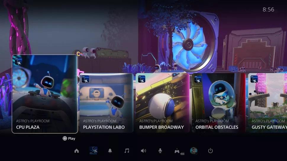 Карточки в меню playstation 5