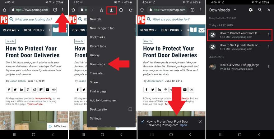 Скачивание в Chrome на Android