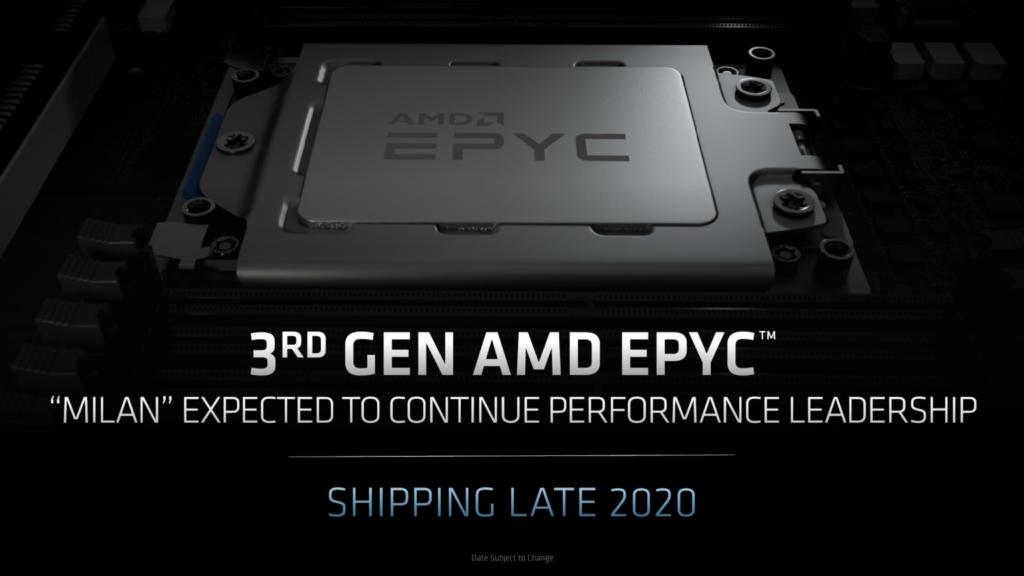 Третье поколение процессоров AMD EPYC Milan Zen 3 выйдет в первом квартале 2021