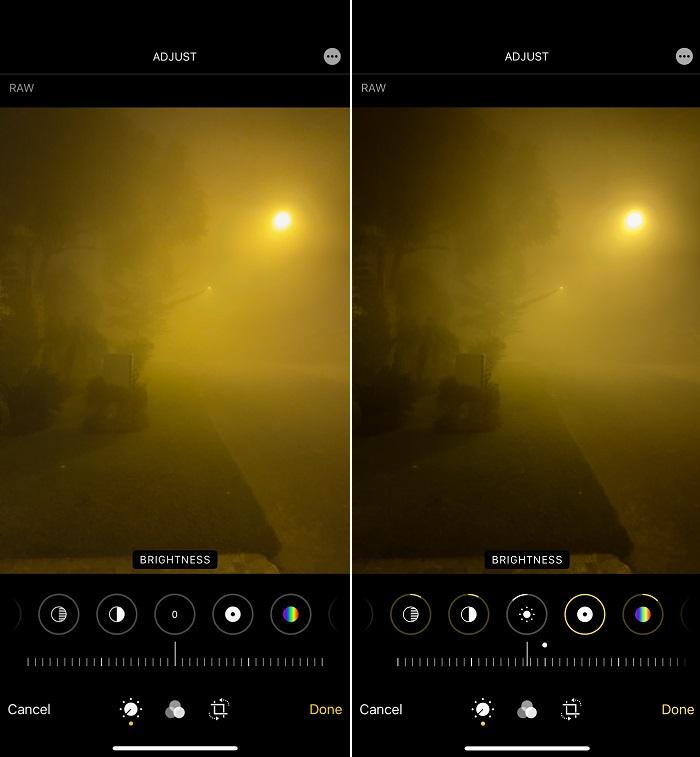 Снимки ProRAW в темноте