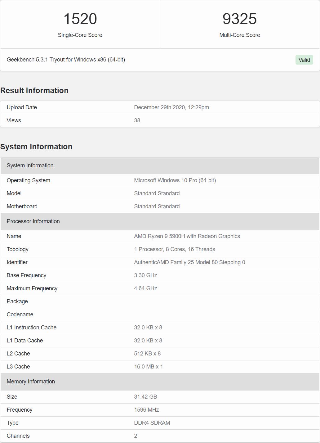Результаты тестирования AMD Ryzen 9 5900H в Geekbench