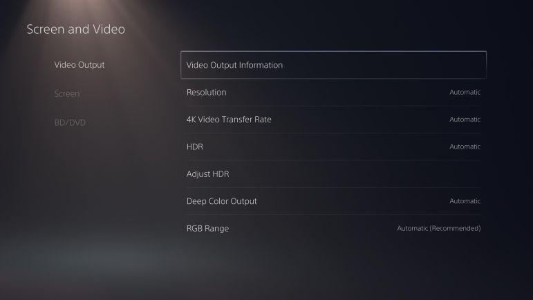 Настройки PlayStation 5