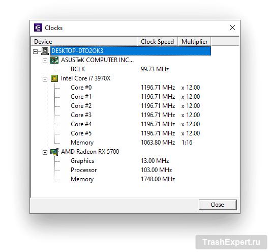 Инструмент Clocks в CPU-Z