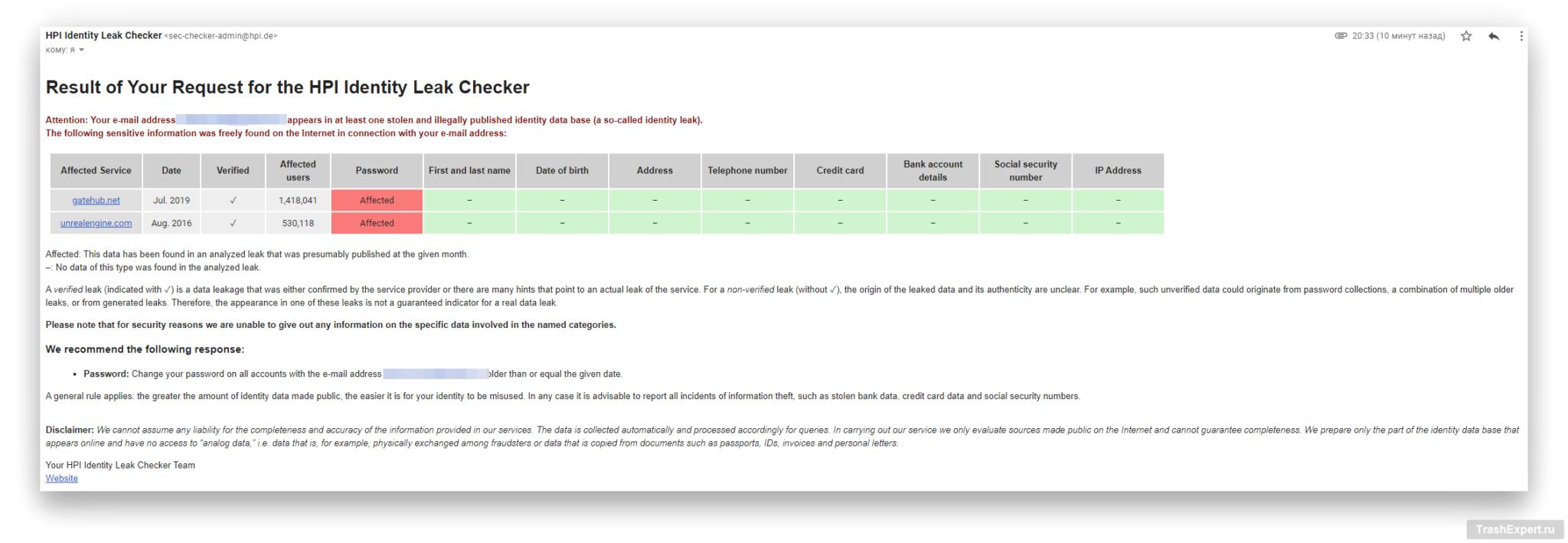 HPI Identity Leak Checker