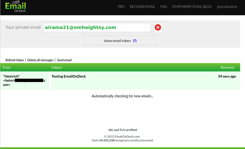 Удаление адреса EmailOnDeck