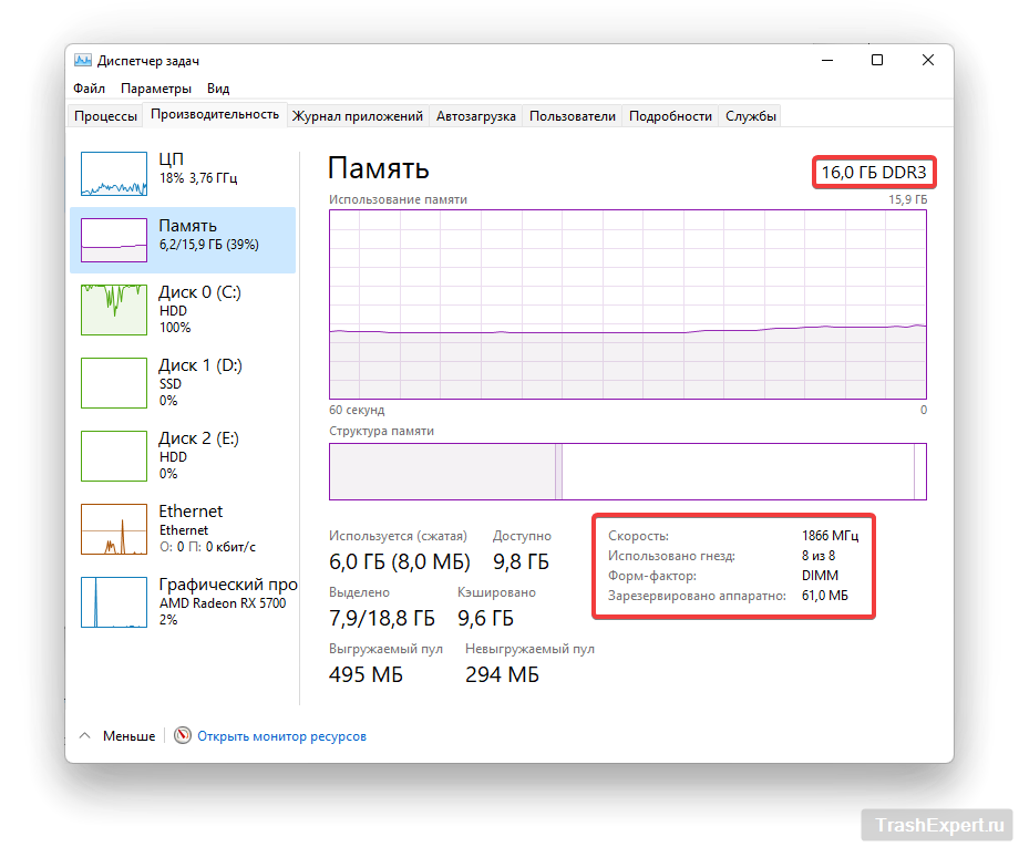 """Вкладка """"Память"""" в диспетчере задач Windows 11"""
